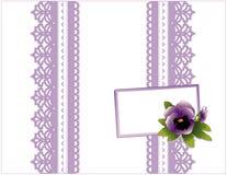 rectángulo de regalo violeta del cordón de +EPS, tarjeta del regalo Fotografía de archivo
