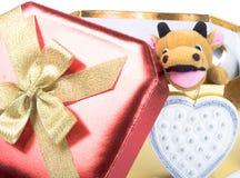 Rectángulo de regalo y toro amarillo Fotografía de archivo