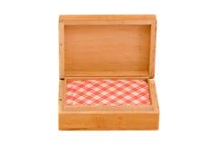 Rectángulo de tarjetas que juegan de madera aislado Fotografía de archivo libre de regalías