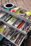 Rectángulo de trastos de pesca foto de archivo