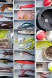 Rectángulo de trastos de pesca imagen de archivo libre de regalías