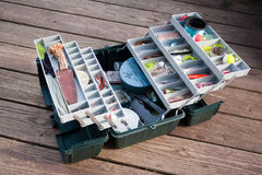 Rectángulo de trastos de pesca Imagenes de archivo