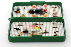 Rectángulo de trastos para la pesca de mosca Fotos de archivo libres de regalías