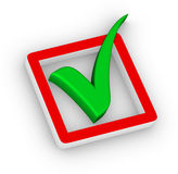 Rectángulo de verificación y marca de verificación Fotos de archivo libres de regalías