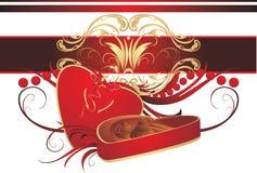 Rectángulo decorativo con los caramelos, el arqueamiento y el ornamento Imagen de archivo