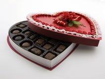 Rectángulo del chocolate de la tarjeta del día de San Valentín foto de archivo libre de regalías