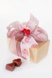 Rectángulo del chocolate de la tarjeta del día de San Valentín Fotografía de archivo