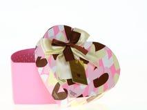 Rectángulo del color de rosa del corazón del regalo Imágenes de archivo libres de regalías