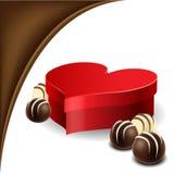 Rectángulo del corazón con la almendra garapiñada del chocolate Fotografía de archivo libre de regalías