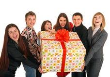 Rectángulo del grupo de personas y de regalo. Foto de archivo libre de regalías