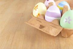 Rectángulo del huevo de Pascua pescado con caña Imagen de archivo libre de regalías