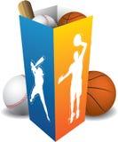 Rectángulo del jugador del deporte con las bolas Imágenes de archivo libres de regalías