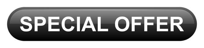 Rectángulo del negro de la oferta especial con el botón de la esquina redondeada ilustración del vector