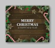 Rectángulo grande de la plantilla de la bandera con las letras de la Feliz Navidad y de la Feliz Año Nuevo Ramas verdes, fondo de ilustración del vector
