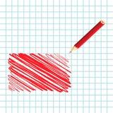 Rectángulo manuscrito rojo Stock de ilustración