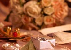 Rectángulo para los anillos de bodas Fotografía de archivo