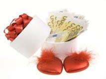 Rectángulo redondo blanco con los billetes de banco Imagen de archivo libre de regalías