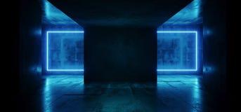 Rectángulo retro elegante moderno de neón retro de Hall Glowing Blue Frame Light de la etapa del club del laser Sci Fi en hormigó ilustración del vector