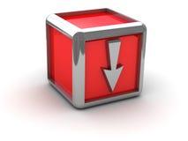 Rectángulo rojo con la flecha abajo Imagen de archivo libre de regalías