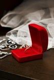 Rectángulo rojo con los anillos de bodas Imagen de archivo libre de regalías