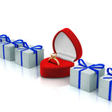 Rectángulo rojo del anillo Foto de archivo