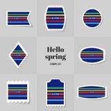 Rectángulo simple de la colección para hola el sello de la primavera Imagen de archivo