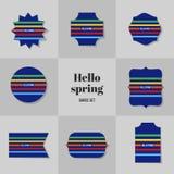 Rectángulo simple de la colección para hola las tarjetas de la primavera Fotografía de archivo libre de regalías
