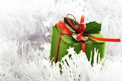 Rectángulo verde de la Navidad Imagenes de archivo