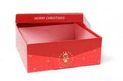 Rectángulo y árbol de navidad rojos de regalo imagen de archivo