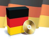 Rectángulo y CD alemanes del software Fotografía de archivo