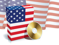 Rectángulo y CD americanos del software Fotos de archivo