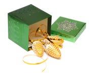 Rectángulo y conos de regalo de la Navidad Fotografía de archivo libre de regalías
