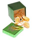 Rectángulo y conos de regalo de la Navidad Foto de archivo