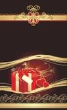 Rectángulo y corazones rojos decorativos con el ornamento gótico Fotos de archivo