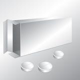 Rectángulo y píldoras blancos del cartón Foto de archivo libre de regalías
