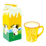 Rectángulo y taza aislados del cartón de la leche Imagen de archivo libre de regalías