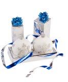 Rectángulos azules y bolas del azul de la Navidad Fotografía de archivo