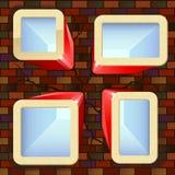 Rectángulos brillantes con los lugares para el texto en la pared de ladrillo Imagenes de archivo