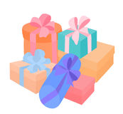 Rectángulos con los regalos Imagen de archivo