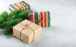 Rectángulos con los regalos de la Navidad Fotografía de archivo