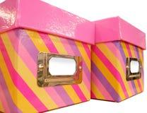 Rectángulos de almacenaje rosados Imagenes de archivo