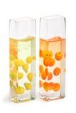 Rectángulos de cristal con la fruta Fotografía de archivo libre de regalías