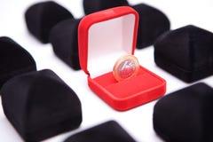 Rectángulos de joyas con la moneda Imagen de archivo libre de regalías