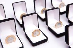 Rectángulos de joyas con la moneda Fotografía de archivo