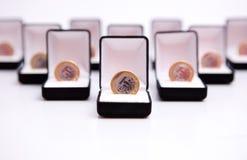 Rectángulos de joyas con la moneda Foto de archivo