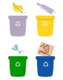 Rectángulos de la separación de la basura por colores stock de ilustración