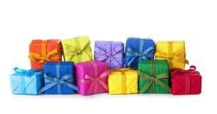 Rectángulos de regalo coloridos Fotos de archivo libres de regalías
