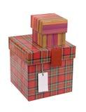 Rectángulos de regalo con la etiqueta en blanco Imagen de archivo libre de regalías