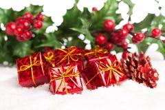 Rectángulos de regalo con pinecone Fotografía de archivo libre de regalías