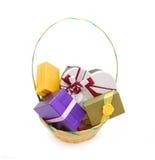 Rectángulos de regalo de la cesta Fotografía de archivo libre de regalías